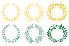 Set of laurel wreaths Stock Image