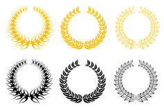 Set of laurel wreaths Royalty Free Stock Image