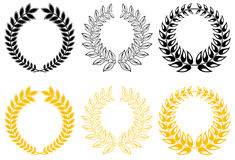 Set of laurel wreaths Royalty Free Stock Images