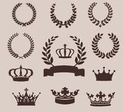 Set of laurel wreaths and crowns. Vintage emblem Royalty Free Stock Image