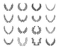 Set of laurel wreaths. Stock Image