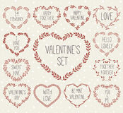 Set of laurels and wreath in shape heart. Royalty Free Stock Photo
