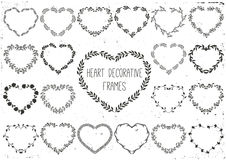 Set of laurels and wreath in shape heart. Stock Photos