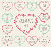 Set of laurels and wreath in shape heart. Royalty Free Stock Photography