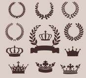 Set laurowi wianki i korony dodatkowy adobe emblemata eps formata ilustrator zawiera rocznika Royalty Ilustracja
