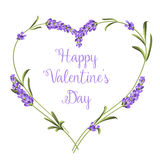 Set of lavender. Hearts of lavender flowers elements. Happy Valentine Day. Lavender flowers on a white background. Botanical illustration. Vintage style. Making vector illustration