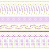 Set of lavender seamless border for scrapbook. Cute  floral elements. Royalty Free Stock Photos