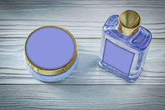 Set of lavender shower gel and body lotion on wooden board bathi Royalty Free Stock Image