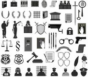 Set law court.different icons clipart. Themis gavel Libra shield wreath people judge crime Royalty Free Stock Photography