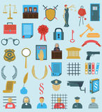 Set law court .  flat  icons . gavel Libra  wreath people judge Royalty Free Stock Images