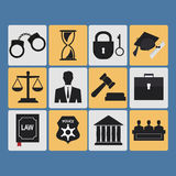Set of law and justice flat icons Stock Photos