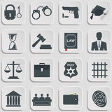 Set of law and justice flat icons Stock Photography