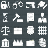 Set of law and justice flat icons Royalty Free Stock Images