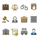 Set of law and justice icons. Colorful outlined icon collection. Royalty Free Stock Photos