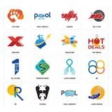 Set of lawn mower, pool company, pr, lung cancer, all in one, childcare, xfactor, savage, lion paw icons. Set Of 16 simple  icons such as lawn mower, pool Stock Photos