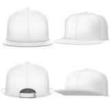 Set Layout of Male white rap cap. Stock Photos