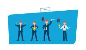 Set of leader businessman is superhero, in different situations. Set of businessman is superhero, in various poses. Leader, leadership qualities, dedication Stock Photography