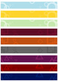 Set of leaderboard backgrounds with abstract motifs. Stock Photos