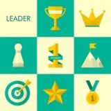 Set of leadership symbol icons. Set of vector flat design icons Royalty Free Stock Photo