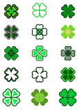 Set leaf clover. Four leaf, silhouettes, stylized in green color Royalty Free Stock Images