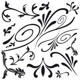 Set of leaf and flower design decorations Stock Images