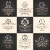 Set leaflets ornamental logos Stock Image