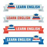 Set of learn english baners Royalty Free Stock Photography