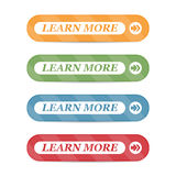 Set of learn more buttons with shadows on a white background Stock Photography
