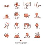 Set of Learning Intelligence Related Vector Line Icons.Thin line icons,flat vector illustration for web site or mobile app royalty free illustration