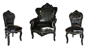 Set of leather armchairs isolated on white Stock Photos