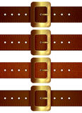 Set of leather belts. With golden buckle isolated on white background, illustration Royalty Free Stock Image