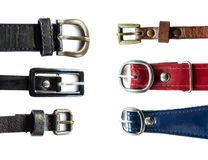 Set of leather belts Royalty Free Stock Photography
