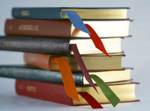 A Set of Leather Bound Books with Bookmarks Royalty Free Stock Images
