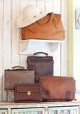 Set of leather handbags Stock Image