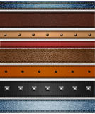 Set of leather and jeans stripes Royalty Free Stock Image