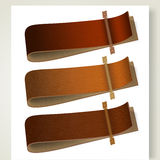 Set of leather labels Stock Photos
