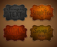 Set of leather labels Stock Images