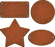Set of leather labels. Vector illustration Royalty Free Stock Image