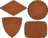 Set of leather labels. Vector illustration Royalty Free Stock Photo