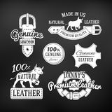 Set of leather quality goods vector designs Royalty Free Stock Images
