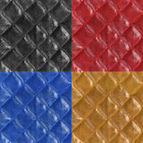 Set of leather seamless patterns. Black, red, blue, brown Royalty Free Stock Images