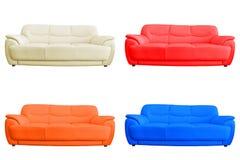 Set of leather sofa. Set of leather sofa isolated on white background Royalty Free Stock Image