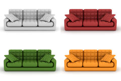 Set leather sofa on a white background. Royalty Free Stock Photo