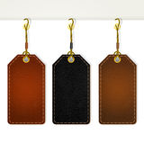 Set of leather tag labels Stock Photo