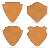 Set of leather tag labels on white Stock Image
