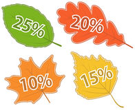 Set of Leaves with Discount Values. Set of Autumnal Leaves with Discount Values Vector Illustration