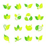 Set of leaves icon. Green leaves icon for your work stock illustration