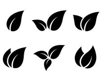 Set of leaves icons Stock Images