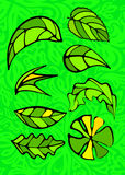 Set of leaves. Stained glass style. Set of leaves. Stained glass Stock Images