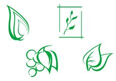 Set of leaves symbols Royalty Free Stock Image